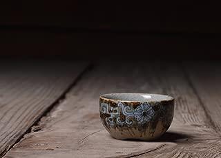 青磁 青と白 古代の陶器 ソイルカップ 手塗り 小さなカンフーカップ ティーセット ティートレーアクセサリー 茶碗