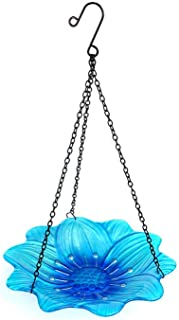 Liffy Hanging Bird Bath Outdoor Glass Bowl Feeder Blue for Garden, Yard and Patio