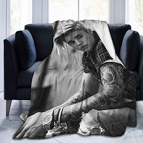 Justin-Bieber - Manta de franela súper suave, antibolitas, para ropa de cama, sala de estar, 60 pulgadas x 50 pulgadas