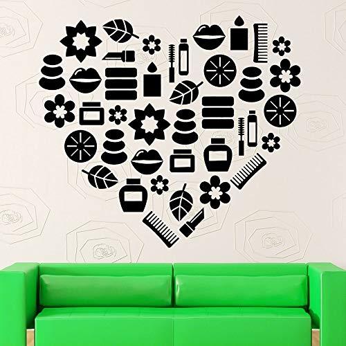 Pegatinas de pared salón de belleza Spa relajación chica moda dormitorio decoración del hogar vinilo ventana calcomanía creativo amor arte Mural