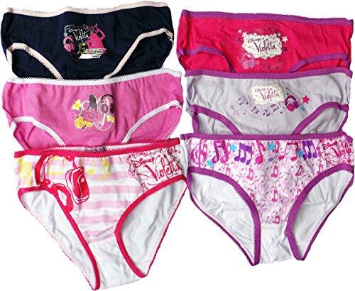 Disney Violetta Girls Slips 6 er Set - Violetta Musik vom Herzen - Pink/Lila/Mehrfarbig
