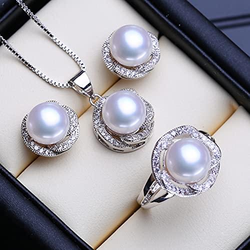 LOKILOKI Conjuntos De Joyas De Plata De Ley 925 Pendientes De Perla Natural Pendientes De Cadena De Fiesta De Moda Collares para Mujer Conjunto De Anillo
