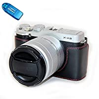 No1accessory XJD-XA2-D01 ブラック Fujifilm X-A2 XA2 X-A1 XA1 専用 防水 PU レザー 一眼レフ カメラバッグ カメラケース ハンドストラップ + SDカードリーダー