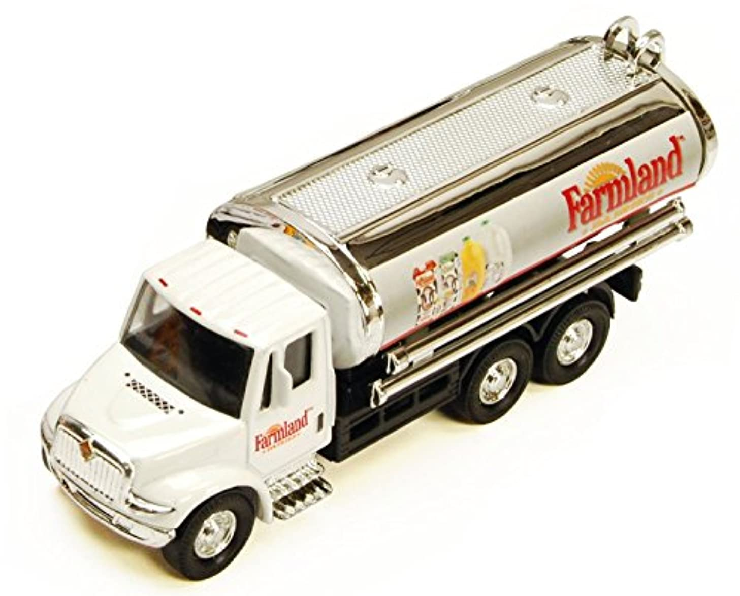 Farmland International Dairy 5?-inch Tanker Truck with Pullback Motorized Action 1/55 Scale