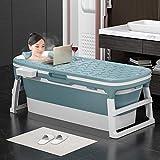 Vasca da bagno pieghevole portatile per adulti e bambini, grande plastica autoportante vasca da bagno secchio per adulti con copertura