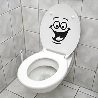 sundatebe Autocollant Smiley, Sticker Mural Drôle pour WC, Salle de Bain, Cuisine, PVC, 1 Couleur, Taille Unique
