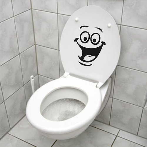 Funny Smiley cara para WC ba?o cocina pared adhesivo habitación Art Decor, pvc, One Color, talla única