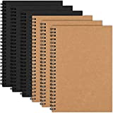 EOOUT 6 Pack Soft Cover Spiral Notebook Journal, Blank Sketch Book Pad, Diary Notebook Planner with Blank Paper, 100 Pages/ 50 Sheets, 5' x 8'(Brown and Black), for Students, School Supplies