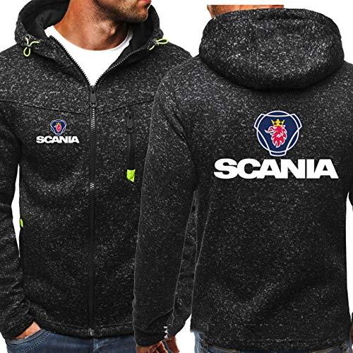 Herren-Sweatshirt Für Scania-gedruckte Jacke Reißverschluss Baseball-Uniform Langarmjacken - Teen Geschenk Black-Large