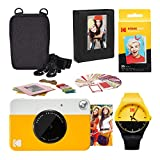 KODAK PRINTOMATIC Instant Print Camera (Yellow) Scrapbook Photo Album Kit