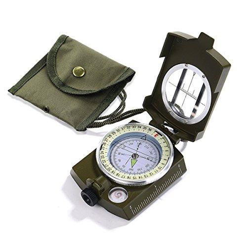 Kompass Militär Marschkompass Professioneller Taschenkompass mit Klinometer Tragschlaufe Tasche für Jagd Wandern und Aktivitäten im Freien