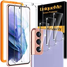 [2+3 Pack] UniqueMe Screen Protector Compatible for Samsung Galaxy S21+ Plus 5G (6.7 inch) 2 Pack Tempered Glass and 3 Pack Camera Lens Protector [Support ultrasonic unlock] [Installation Frame]