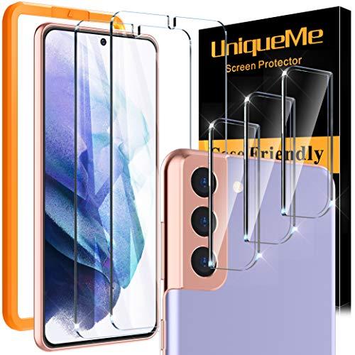 [2 Pack]UniqueMe Protector de Pantalla y [2 Pack] Protector de lente de cámara compatible con Samsung Galaxy S21 Plus (6.7 pulgada), [Cobertura máxima][Sin Burbujas] HD Cristal Vidrio Templado