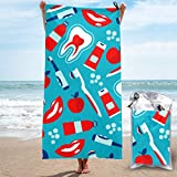 Toallas de playa para adolescentes Lindo cepillo de dientes eléctrico automático Toalla de camping reutilizable Toalla de yoga Microfibra Ligera, de secado rápido y absorbente para acampar, viajar, p