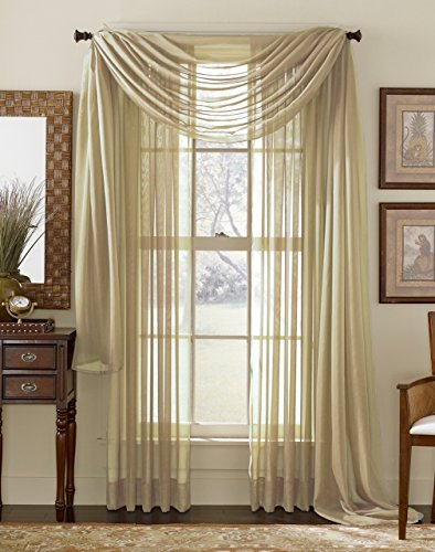 """3 Piece Sheer Panel (2 Pieces 58"""" x 84"""") and Scarf Window (1 Pieces 37"""" x 216"""") Curtain Combo Set (Taupe)"""
