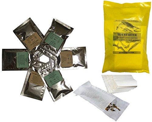 Beantown Tea & Spices - Tea Starter Sampler Variety Pack. 5 Premium Loose Leaf Tea Samplers & 25 Tea Filters. 12 Combinations To Choose From (Best Sellers Samplers)