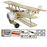 Viloga RC Plane Fokker Dr.1 Triplane Model Kit, 30'' Wingspan Laser Cut Balsa Wood Airplane Kits to Build for Adults, DIY Electric Flying Airplane Model for Hobby Fly (KIT+Motor+ESC+Servo+Film)