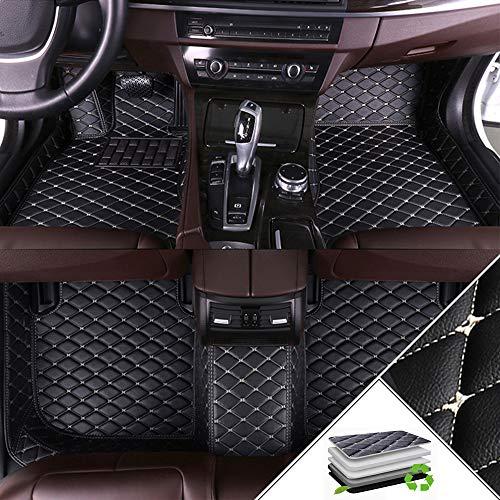ALLYARD Für V60 2011-2017 Autofußmatten XPE Leder Autoteppiche Schutzmatten rutschfest Set Volldeckung Auto-Fussmatten Anti-Rutsch-Teppich Schwarz und Beige