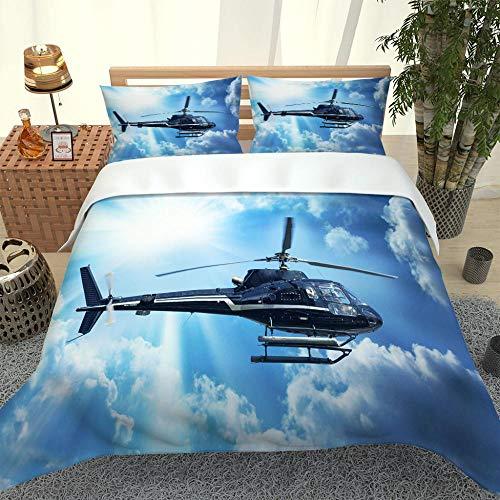 Ropa De Cama 3D Helicóptero Playa Fundas De Almohada con Estampado 3D Funda De Edredón Moderno De Poliéster-Algodón Juego De Cama para Niños 140cm x 200cm
