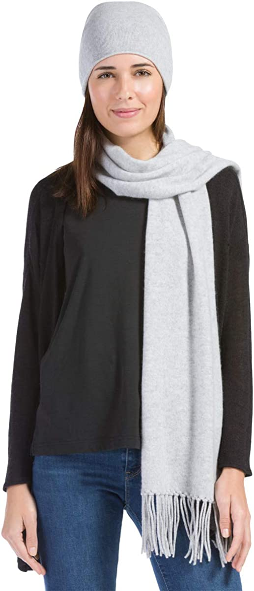 Fishers Finery 2pc Pure Cashmere Slouchy Beanie and Scarf Women's Set; with Exquisite Packaging