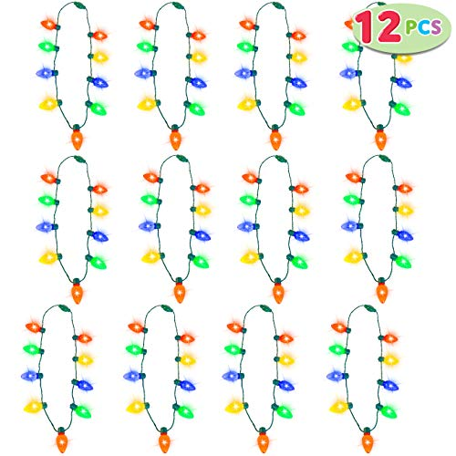 JOYIN 12 Piece Festive Christmas LED Light Up Bulb Necklaces Accessories for Christmas Party Favor Supply Accessories
