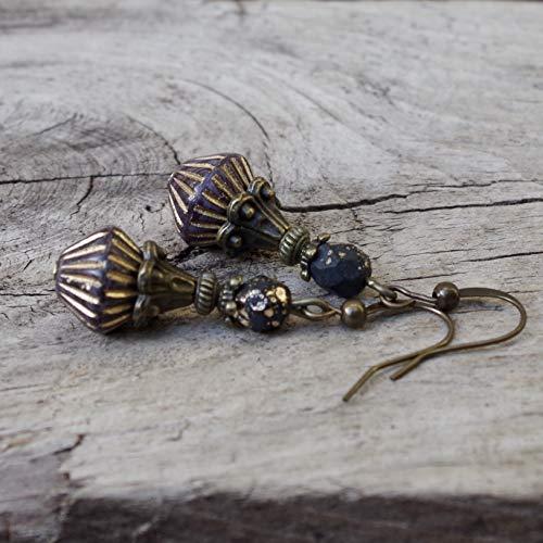 NEU!!! - Vintage Ohrringe mit böhmischen Glasperlen - schwarz, golden, braun-aubergine & bronze