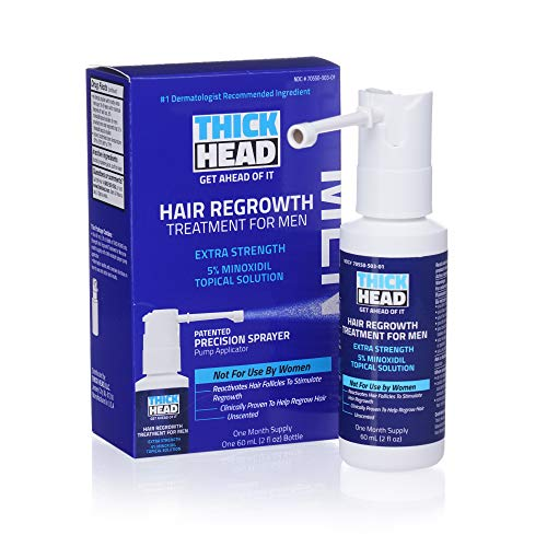 THICK HEAD - Hair Regrowth Treatment for Men, Extra Strength 5% Minoxidil, 2 Fl Oz, 30 Day Supply