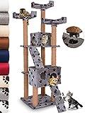 JakoCat Leopet Albero per Gatti tiragraffi Cuccia Gatto Palestra Gioco per Gatti Altezza ca. 173 cm Grigio con zampette