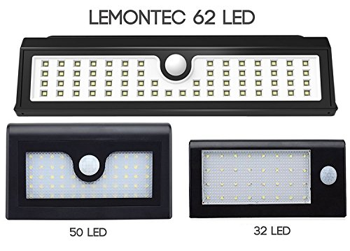 Lemontec Solar Lights, 62 LED Wall Solar Light Outdoor Security Lighting Nightlight with Motion Sensor Detector for Garden Back Door Step Stair Fence Deck Yard Driveway, 2 Pack