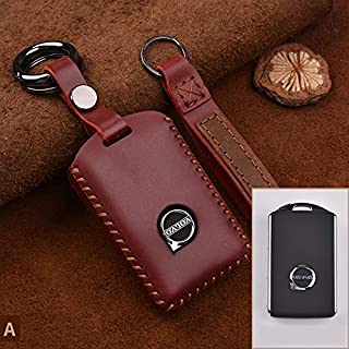 HEALTHLL Handmade Genuine Leather Smart Car Key Case Cover Bag Suitable Car Styling Accessories Red