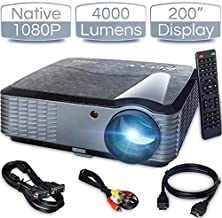 "iCODIS T700 Video Projector, Native Full HD 1080P Digital Projector 4000 Lux with 200"" Display, 50,000 Hrs Lamp Life Compatible with TV Stick, PS4, Blue Ray, DVD Player and Smartphone for Home Theater"