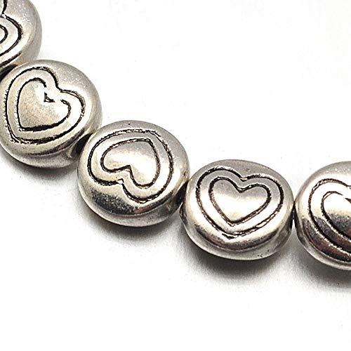 Cuentas de plata tibetana separadoras de 6 mm, 32 unidades de corazón, 1 cuerda de cuentas espaciadoras para manualidades, joyas, cadenas, pulseras, joyas