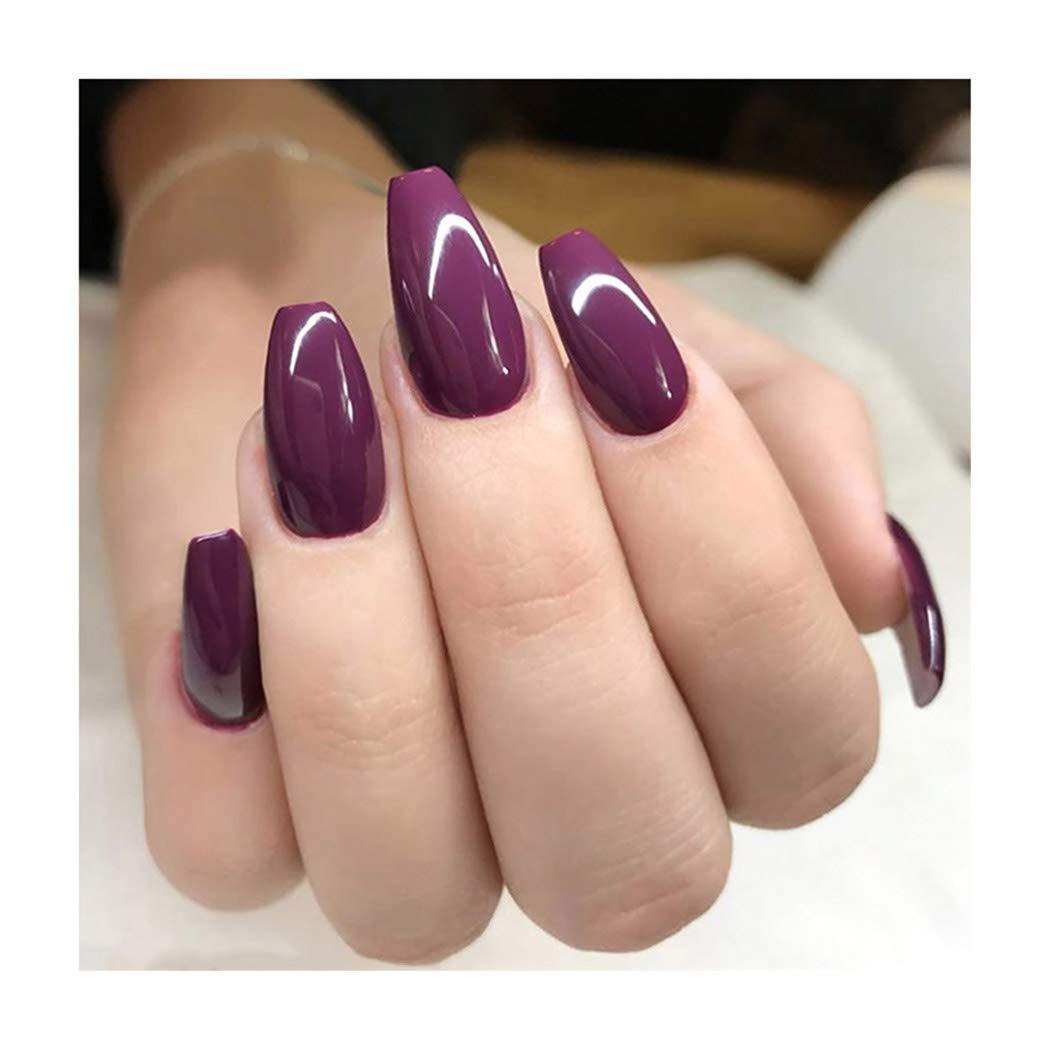deladola Fashion Regular dealer Coffin Fake Nails Max 58% OFF Cover Glossy Acry Purple Full