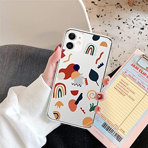 LIUYAWEI Art Statue Graffiti Phone Case para iPhone 12 Mini 11 Pro MAX 7 8 Plus XS MAX X XR 6 6S SE 2020 Contraportada Transparente con Letras Coloridas, T2, para iPhone 7