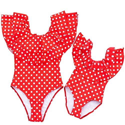 costume mare donna leopardato rosa Loalirando Costume da Bagno Madre e Figlia Famiglia Bikini Leopardato Costumi Interi Spiaggia Elegante Un Pezzo Push Up Mare Estate Rosa Rosso (Women Red