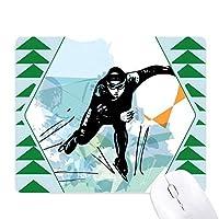 ウィンタースポーツスピードスケートの男子スポーツ選手 オフィスグリーン松のゴムマウスパッド