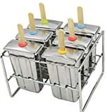 Stainless Steel Popsicle Molds and Rack stainless steel popsicle maker -ice pop molds bpa free -ice Cream Mold pop molds with wooden sticks-ice pop maker molds ( 6 Ice Pop bottom is flat mould