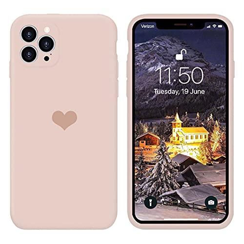 13peas Kompatibel mit iPhone 13/Mini/Pro/Pro Max Hülle(2021),Herz Motiv Muster Liquid Silikon Gummi Ganzkörperschutz Hülle schutzschale Hüllen Handytasche Etui (Rosa, Pro)