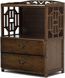 Curio Cabinets Bookshelf Bamboo Living Room Shelf Locker Simple Chinese Drawer Bookcase Solid Wood Combination Bookcase Children's Combination Bookshelf (Color : Brown, Size : 522870 cm)