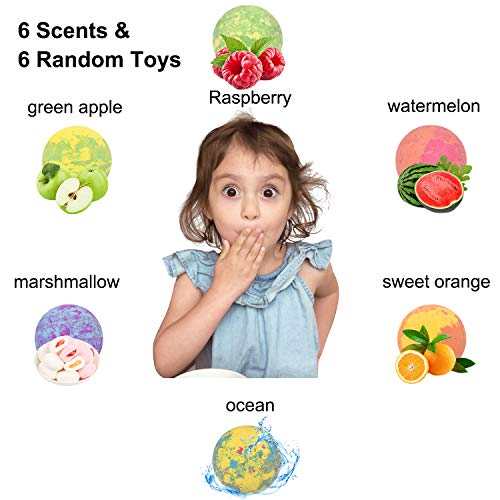 6 Large Bath Bombs for Kids with Surprise Toys Inside, Kids Safe Organic Bubble Bath Bombs Gift Set, Natural Vegan Essential Oil Spa Bath Bombs for Kids Girls Boys Birthday (4.2 oz) 3