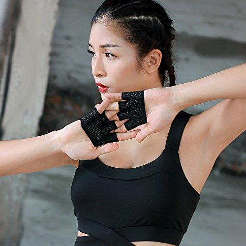 Guantes de yoga - Guantes deportivos fitness cuatro dedos Hombres y Mujeres...