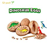 ideapro Dig Up Dinosaur Fossil Eggs 12-Pack, Dig Kit Fossil Eggs and Discover Dinosaurs, Funny Dinosaur Digging Toy for 3 4 5 6 7 8 Year Old Boys Archaeology Science