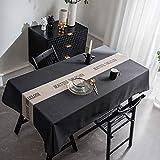 XUDOAI Mantel Antimanchas Diseño de Carta Rectangular Mantel, Transpirable, Aislamiento Térmico, Restaurante,Cocina, Cafetería, Mantel de Jardín (135 * 220cm, Black)