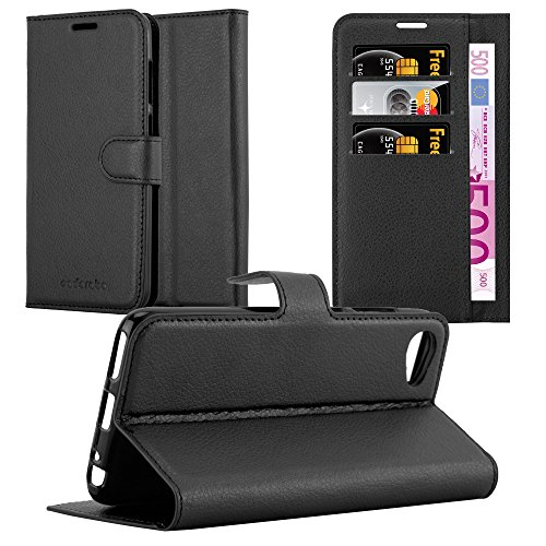 Cadorabo Hülle für HTC Desire 12 in Phantom SCHWARZ - Handyhülle mit Magnetverschluss, Standfunktion & Kartenfach - Hülle Cover Schutzhülle Etui Tasche Book Klapp Style