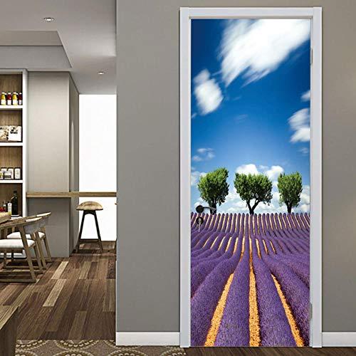 CURTAINSCSR Mural de puerta de lavanda Campo de pared Pegatina de decoración del hogar Pegatina de papel autoadhesivo Decoración de pared Pegatinas de...