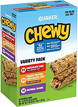 58 Pack Quaker Chewy Granola Bars, 3 Flavor Variety
