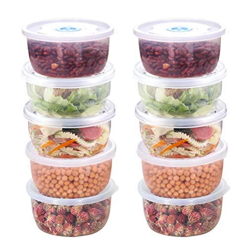 Contenitori per Alimenti in Plastica 12PCS Contenitori Freezer Piccoli 11.4*6cm, Contenitori Ermetico Alimenti con Coperchi, Contenitori Conservazione Alimenti per Microonde Congelatore Lavastoviglie
