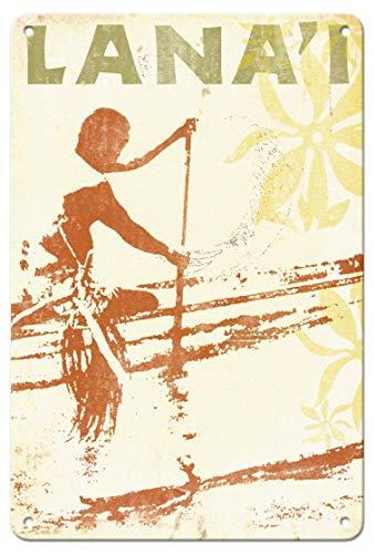 DIAN CLUB Lanai Hawaii Outrigger Canoe Paddler Wand Blechschild Eisen Malerei Metall Kreativität Poster hängende Dekoration Plaque Retro Warnung Kunst Bar Cafe Party Garage