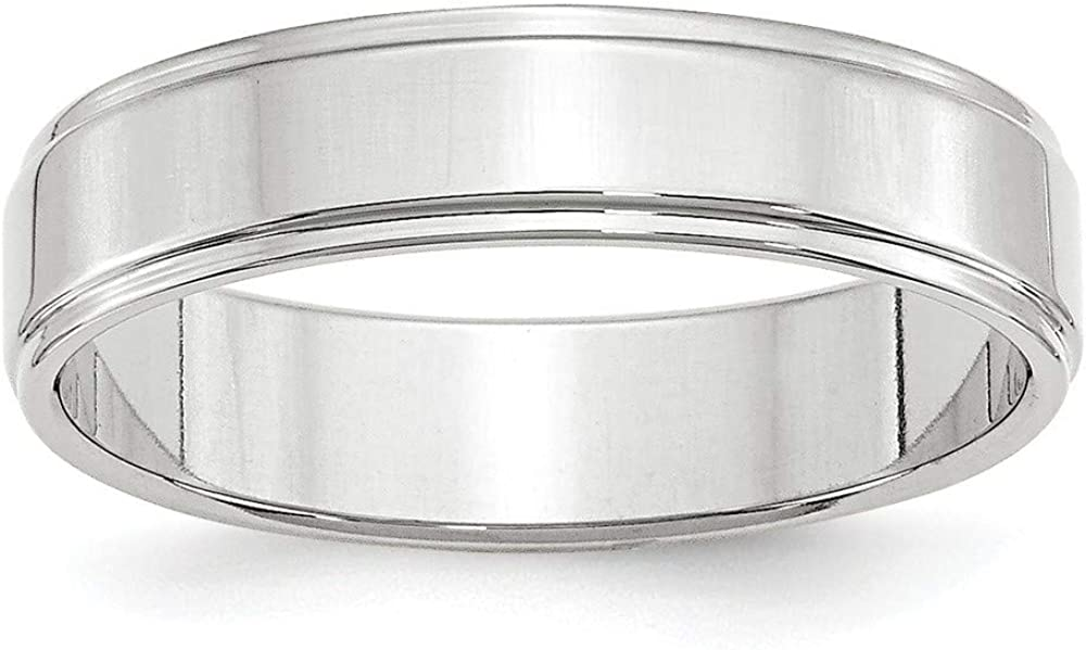 Roy Rose Jewelry 14KW 5mm Flat with Step Edge Band Size 4-