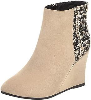 RAZAMAZA Women Fashion Ankle Booties Wedge Heels Zipper